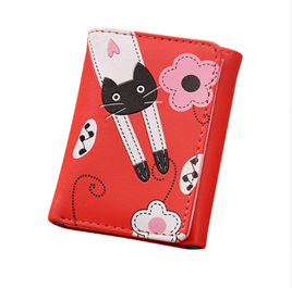 Cat & Flowers Short Womens Wallet - Red