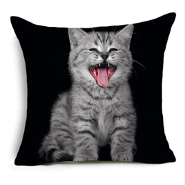 Cat Poking Tongue Out Cushion Cover