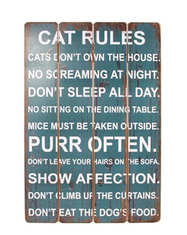 Cat Rules - Wooden Sign