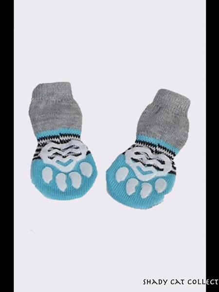 Cat Socks Blue 4pc