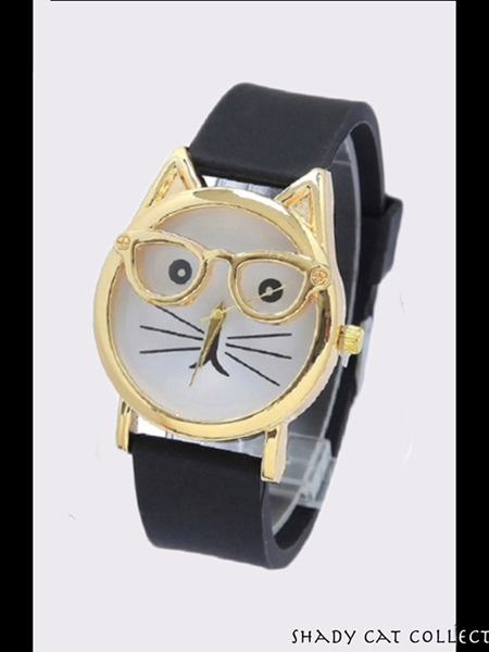 Cat wearing Glasses Watch - Black