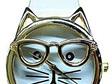 Cat wearing Glasses Watch - White