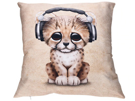Cat with Headphones Cushion Cover