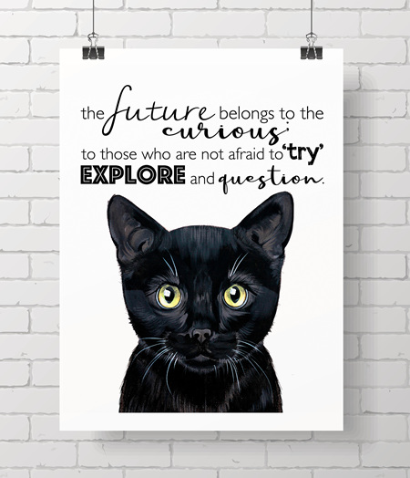 cat with quote - on A3