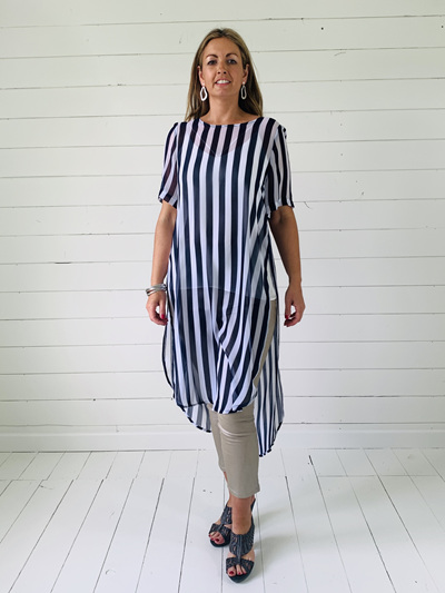 Catherine Dress - Navy/White Stripe