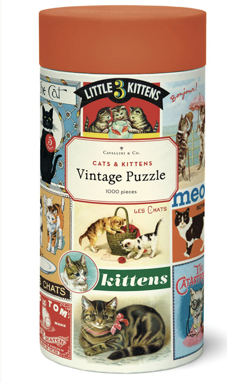 Cavallini & Co 1000 Piece Jigsaw Puzzle: Vintage Poster Cats & Kittens