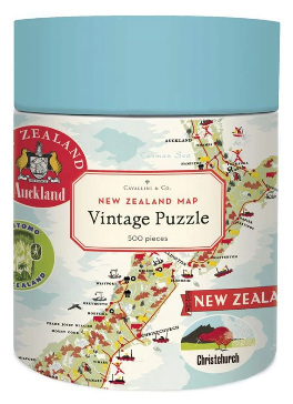 Cavallini & Co  New Zealand Map 500 Piece  Vintage Poster Jigsaw  Puzzle