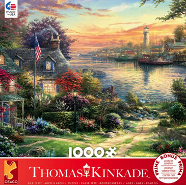 Ceaco 1000 Piece Jigsaw Puzzle: THOMAS KINKADE - THE NEW ENGLAND HARBOUR