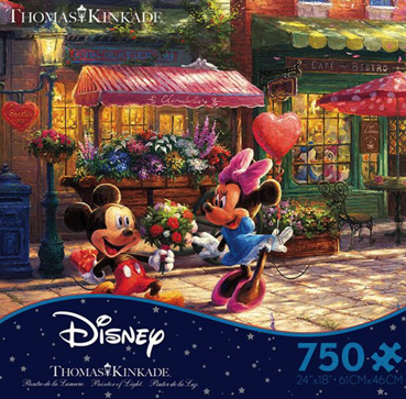 Ceaco 750 Piece Jigsaw Puzzle: THOMAS KINKADE DISNEY - MICKEY AND MINNIE SWEETHEART CAFE
