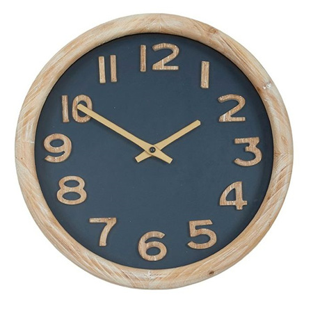 CEDRIC WOOD CLOCK - NATURAL/NAVY 32.5Cm