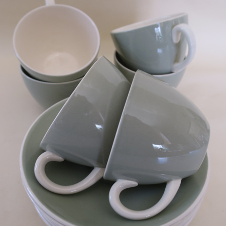 Celadon coffee cups and saucers