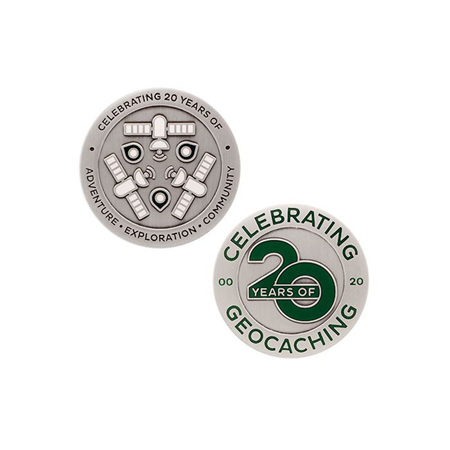 Celebrating 20 Years of Geocaching Geocoin and Trackable Tag Set