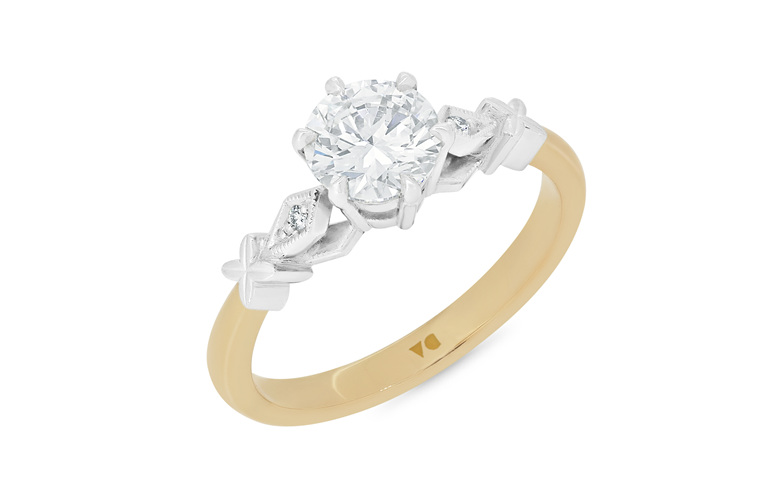 celtic inspired diamond solitaire engagement ring 18ct yellow gold platinum