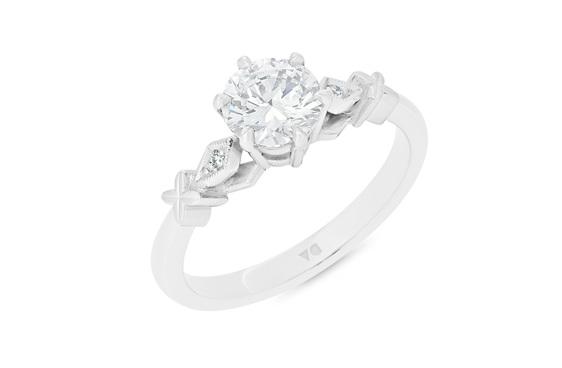 celtic inspired diamond solitaire engagement ring 18ct white gold platinum
