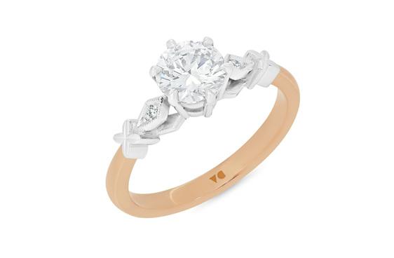 celtic inspired diamond solitaire engagement ring 18ct rose gold platinum
