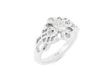 Celtic Pattern Diamond Cluster Ring