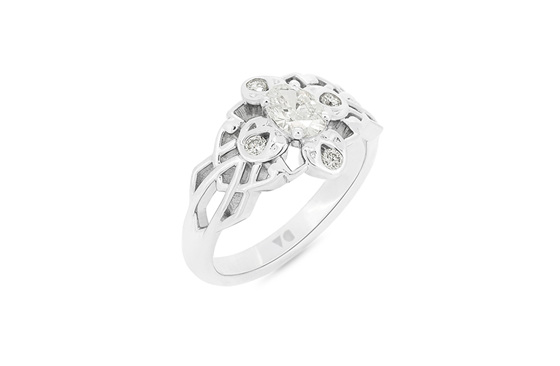 Celtic Pattern Diamond Cluster Ring