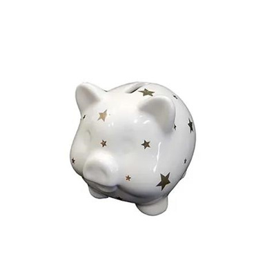 Ceramic Piggy Bank - Pig with Stars