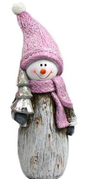 Ceramic snowman - mauve