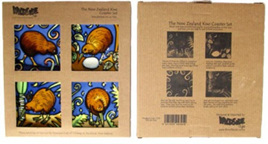 Kiwi Coaster Tiles set of 4 Boxed series