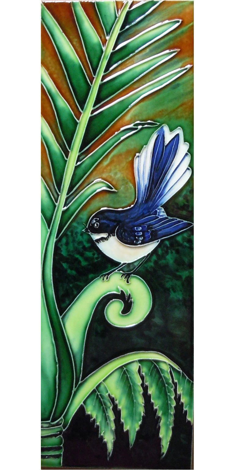 Ceramic Wall Art Green Fantail CT88