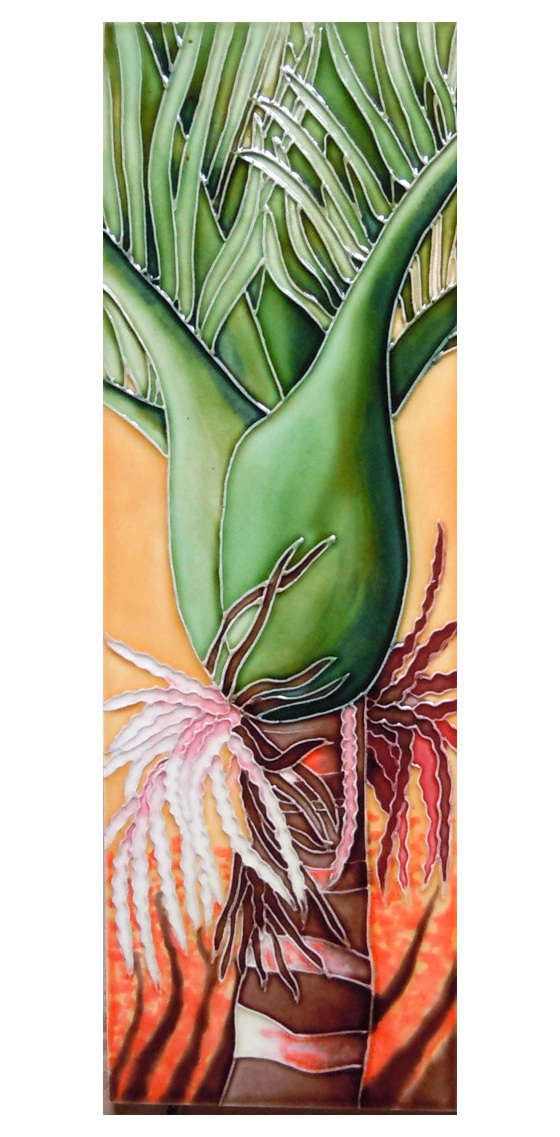 Ceramic Wall Art Orange Nikau CT84