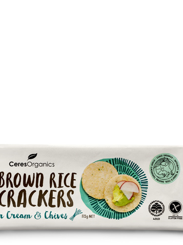 Ceres Organics Organic Brown Rice Crackers Sour Cream & Chives 115g
