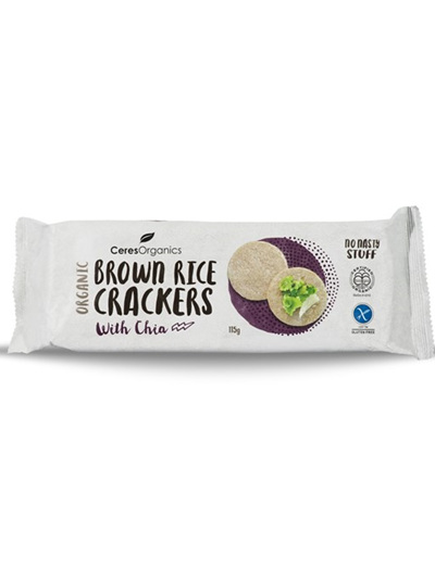 Ceres Organics Organic Brown Rice Crackers With Chia Seed 115g