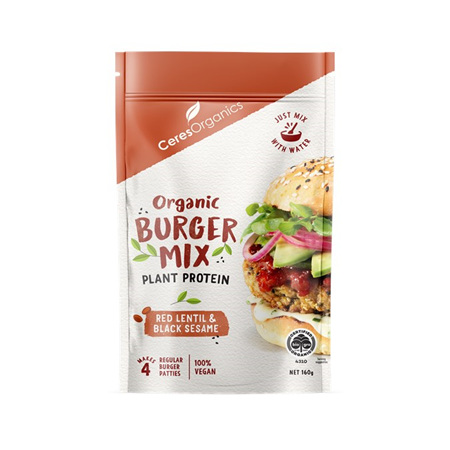 Ceres Organics Organic Burger Mix Lentil and Black Sesame 160g
