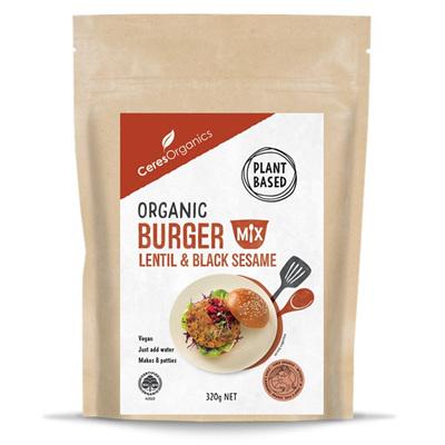 Ceres Organics Organic Burger Mix Lentil and Black Sesame 320g