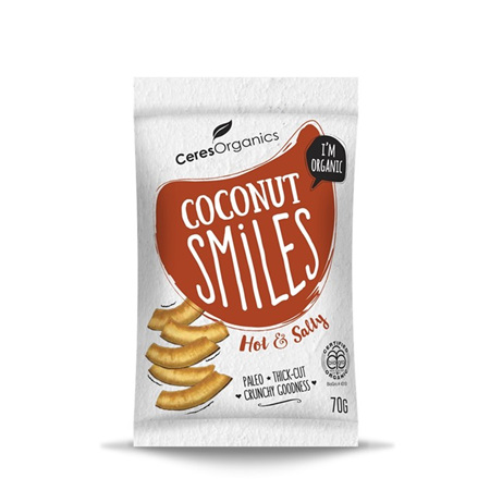 Ceres Organics Organic Coconut Smiles Hot & Salty 70g