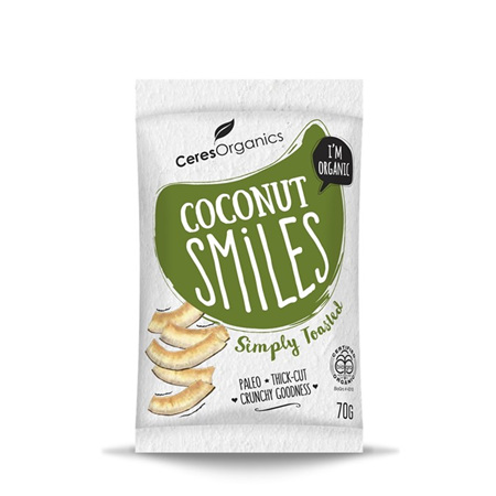Ceres Organics Organic Coconut Smiles Simply Toasted 70g
