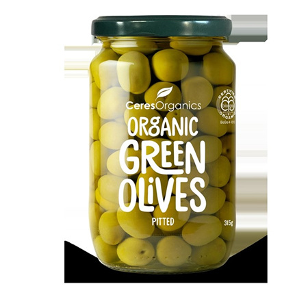 Ceres Organics Organic Green Olives Pitted 315g