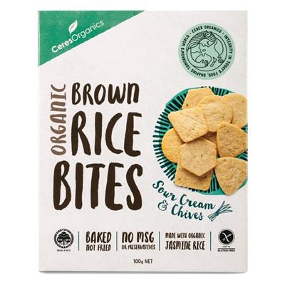 Ceres Organics Organic Rice Bites Sour Cream & Chives 100g