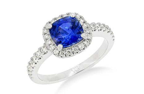 Ceylon Sapphire and Diamond Cluster Ring