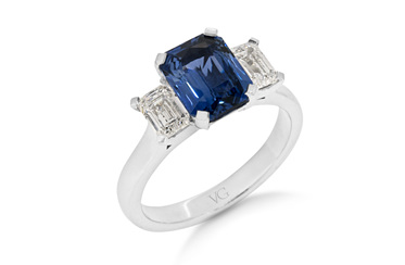 Ceylon Sapphire and Diamond Three-Stone Ring