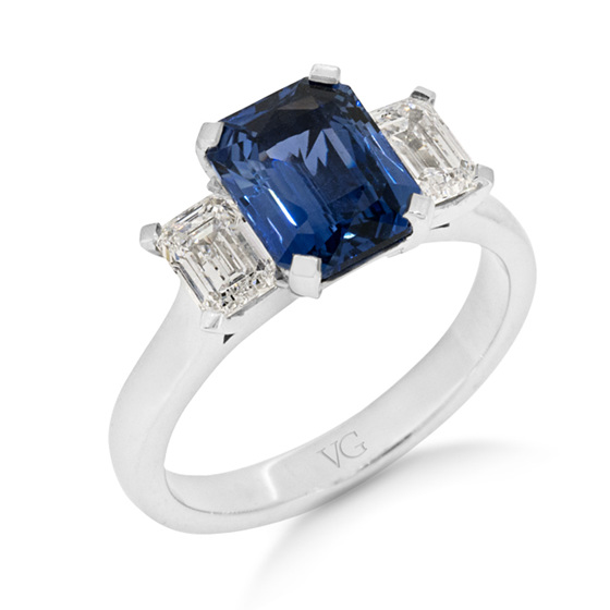 Ceylon Sapphire and Diamond Three-Stone Ring