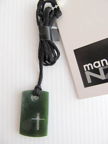 CFX2 Greenstone cross dog tag on black cord (4cm)