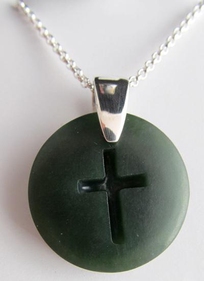 CFX3 Round crucifix silver pendant