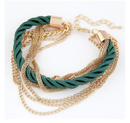Chain & Rope  Bracelet - Gold & Emerald