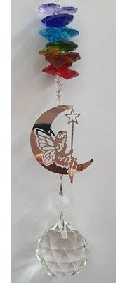 Chakra Fairy Moon Crystal Hanging