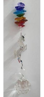 Chakra Unicorn Hanging Crystal