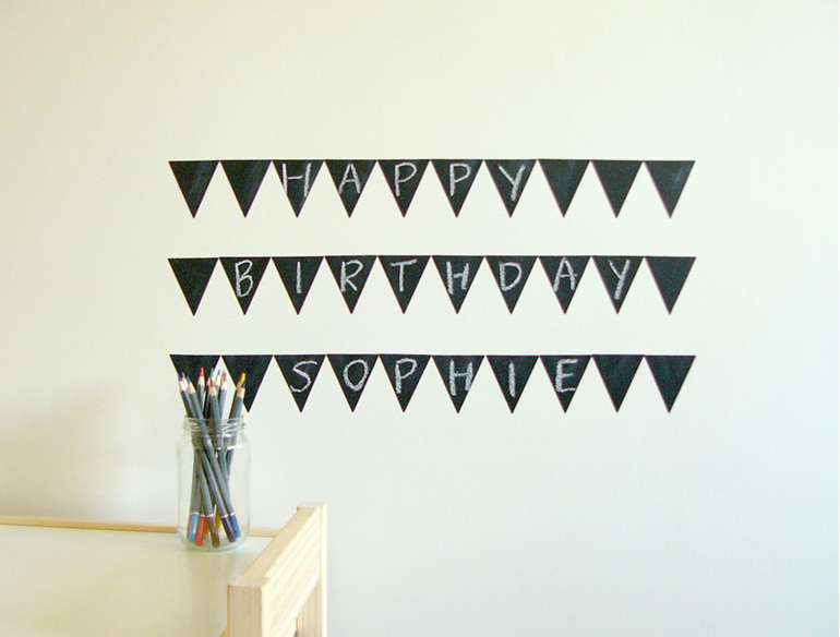 Chalkboard triangles grid bunting