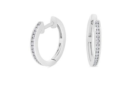 Channel Set Diamond Hoop Earrings