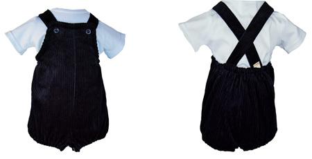 'Charlie' Vintage Romper, 'Navy' Pure Linen, 3-6m