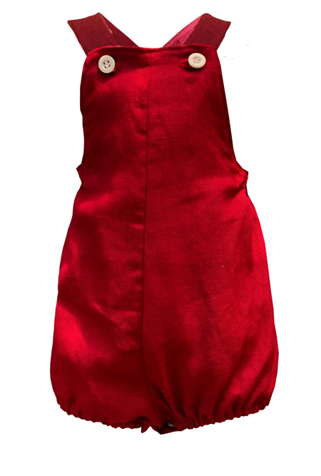 'Charlie' Vintage Romper, Pure Linen, 9-12m