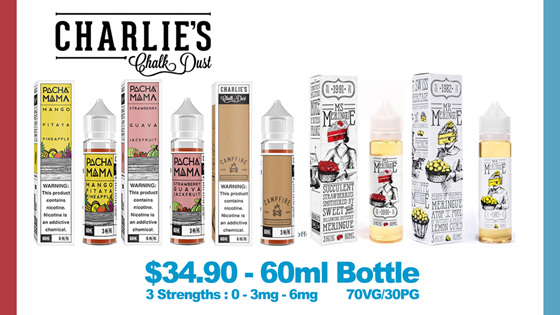 Charlie's Chalk Dust range at Naked Vapour