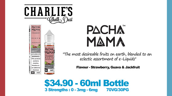 Charlie's Chalk Dust range at Naked Vapour - Pacha Mama