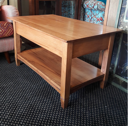 Charters Coffee Table Display Shelf solid wood  Made to order New Zealand
