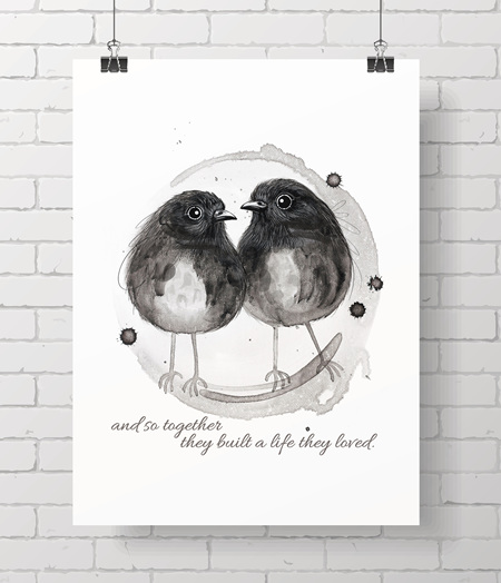 Chatham Island Robins with quote - on A3